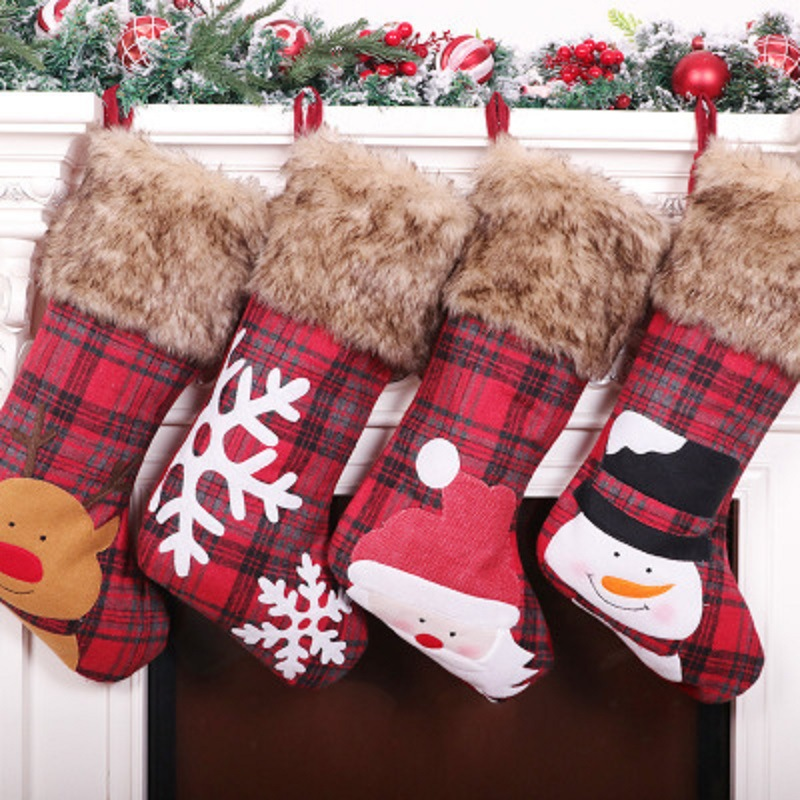 """18"""" Big Xmas Stockings, Burlap Plaid Style with Snowflake Santa Snowman Reindeer and Plush Faux Fur Cuff Family Pack Stockings for Xmas Holiday Party Decor"""