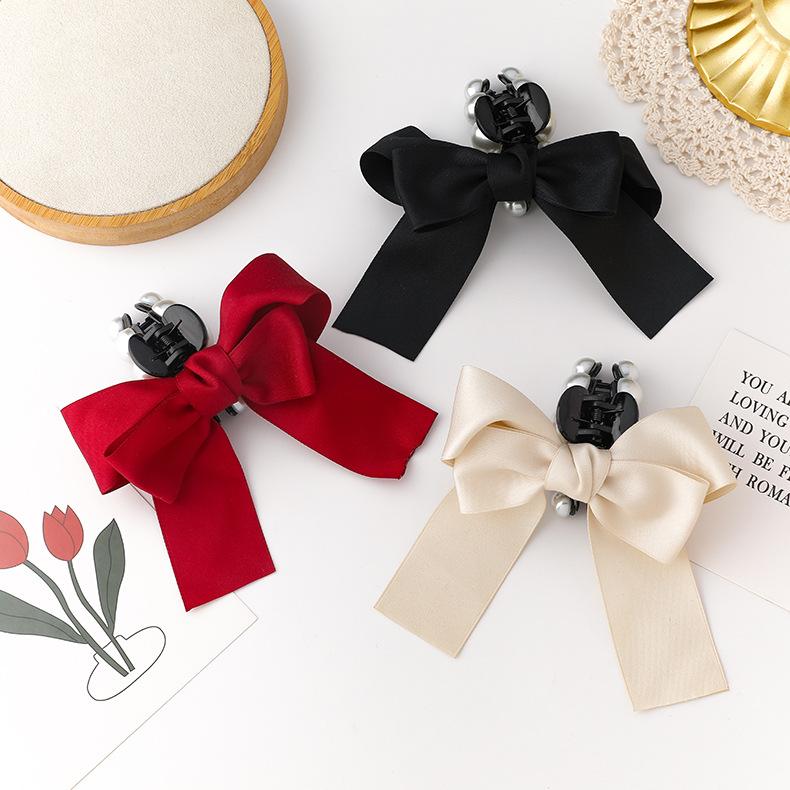 new fashion pearl bow elegant hairpin NHMS324706