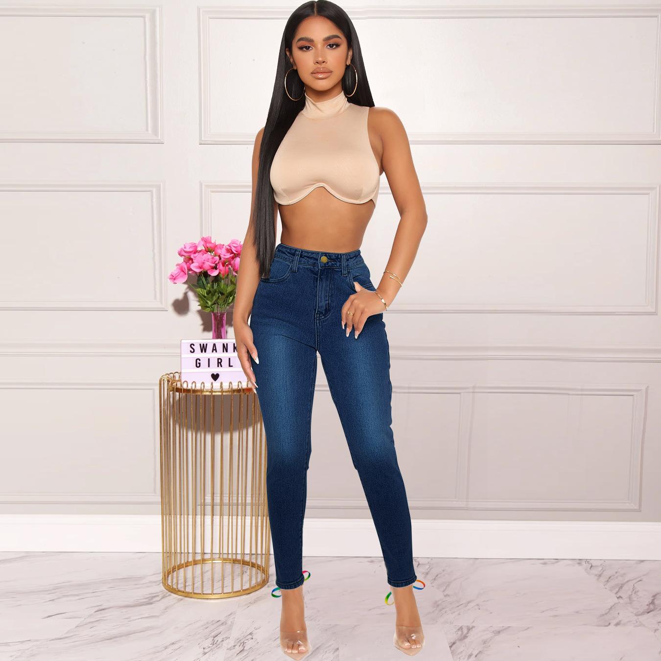 women s colorful bandage jeans nihaostyles clothing wholesale NSWL79302