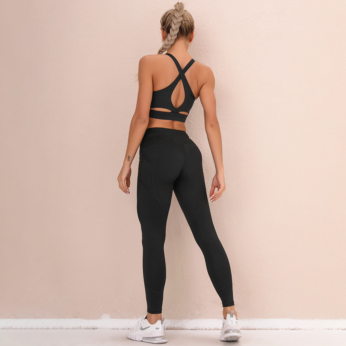 double-sided nylon high waist quick-drying pocket sports two-piece  NSNS23236