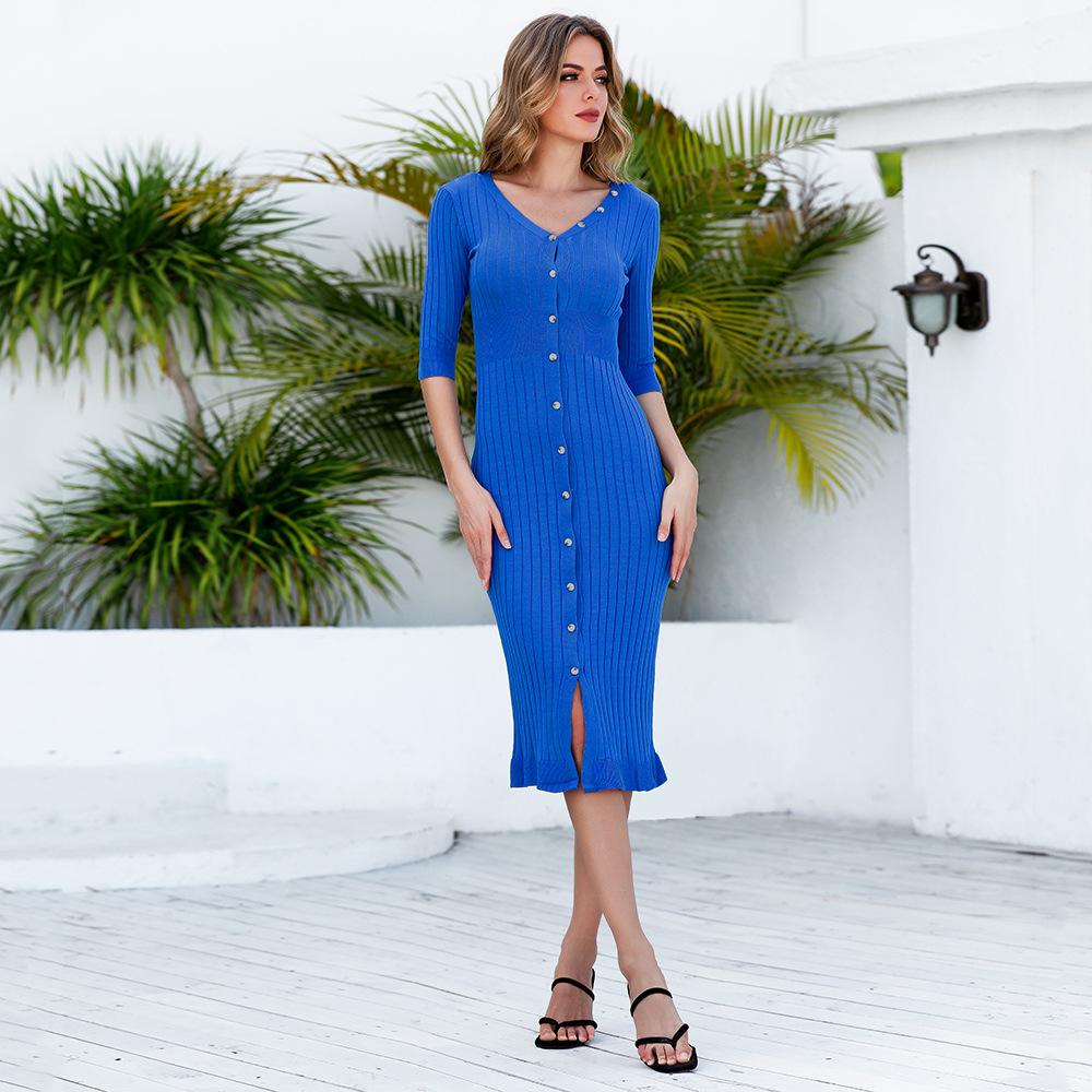 V-neck knitted thread waist dress nihaostyle clothing wholesale NSJR69182