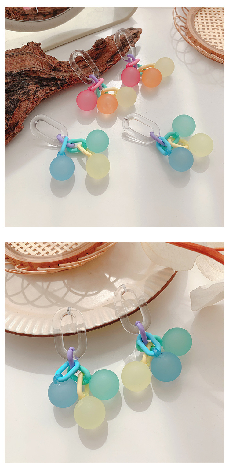 Korean candy color frosted bubble ball earrings  NHHER369367