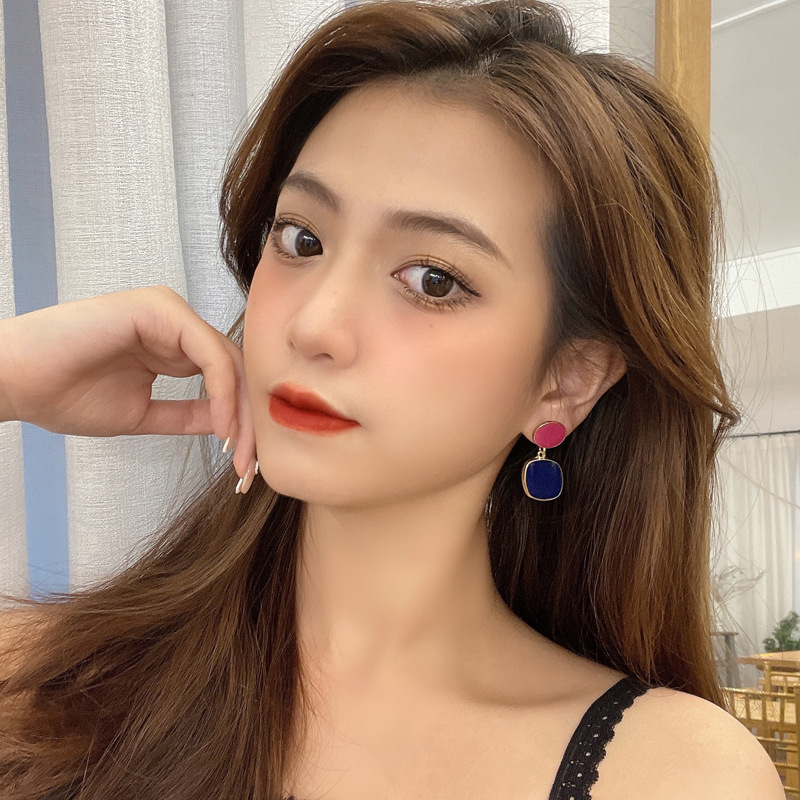 Korea dripping oil contrast color earrings wholesale NHBY332698