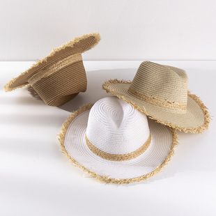 New hat men's spring and summer outdoor wide-brimmed sun hat woven beach jazz top hat ladies sunscreen straw hat