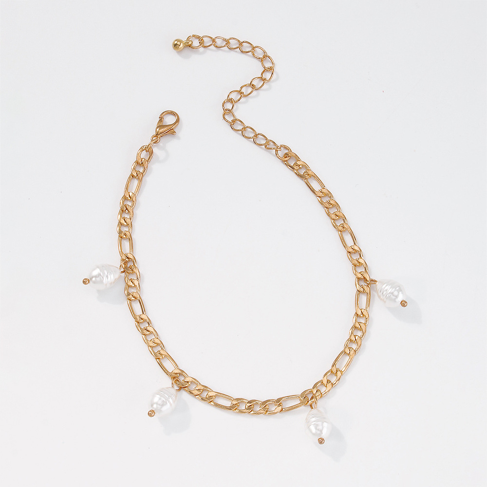 Nihaojewelry wholesale jewelry simple fashion alloy imitation pearl pendent anklet  NHMD383747
