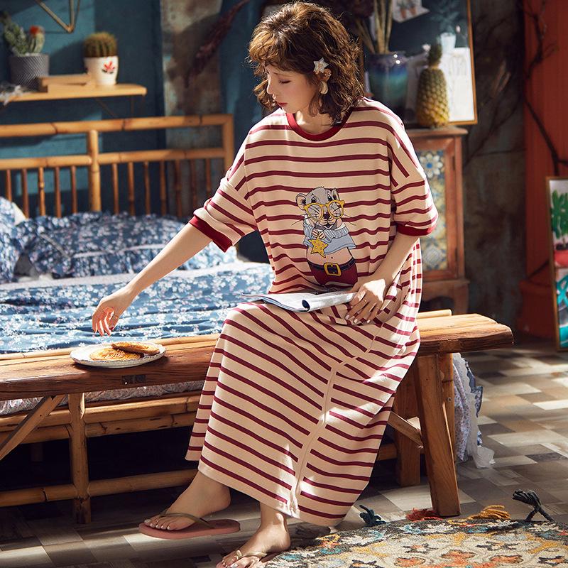 睡裙女夏季短袖纯棉宽松大码睡衣长裙条纹学生薄款可外穿家居服