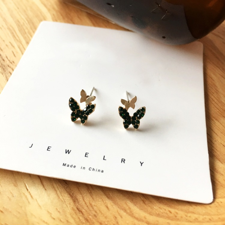 Fashion Small Green Diamond Butterfly Alloy Earrings Wholesale NHBY344020