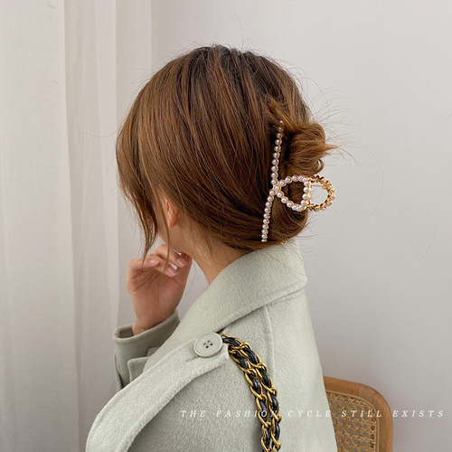 2pcs women girls butterfly barrette claw comb pearl hairpin hair clip back of head shark clip Japanese side hairpin