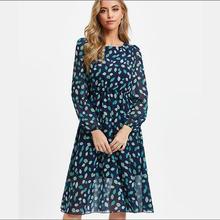 新款2021春季外贸货源轻熟气质欧美女装圆领大摆型大码连衣裙