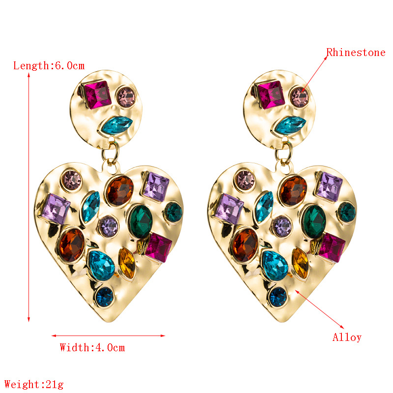 retro geometric heartshaped alloy earrings  NHLN330810