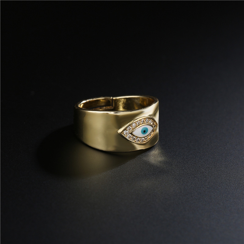 New Simple Copper Color Microinlaid Zircon Devils Eye Open Ring NHFMO367996
