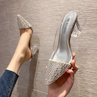 3111-3 in Europe and the sexy pointed shallow mouth high-heeled shoes transparent thick with thin diamond shoes sandals web celebrity side is empty