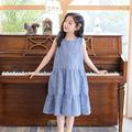 女童连衣裙2021夏韩版童装森系蛋糕公主背心裙网红度假裙子中大童