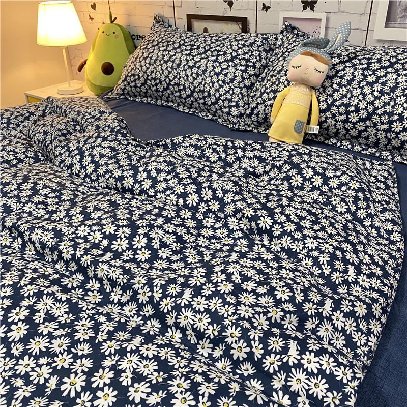 复古田园风小雏菊四件套床上用品深海蓝被套床单学生宿舍三件套夏