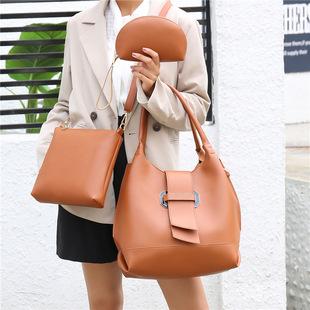 Foreign trade female bag new retro single-handle single shoulder bag mother-and-child bag fashionable large-capacity bucket female bag cross-border female bag