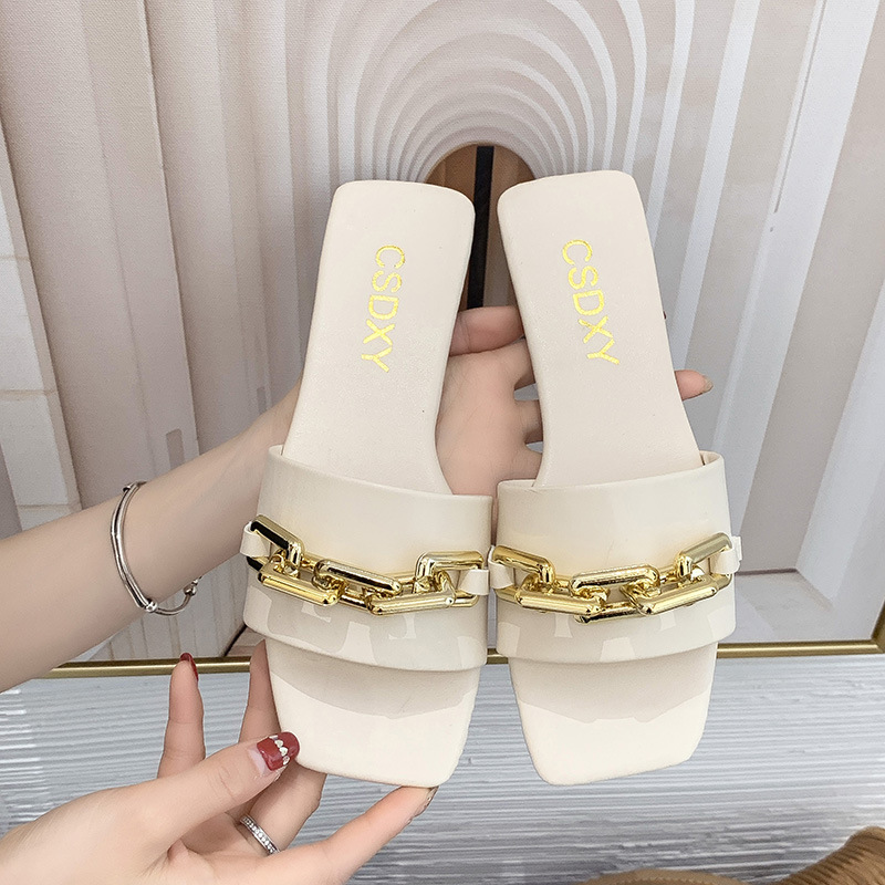 fashion flat-bottomed one-word slippers NSPE52380