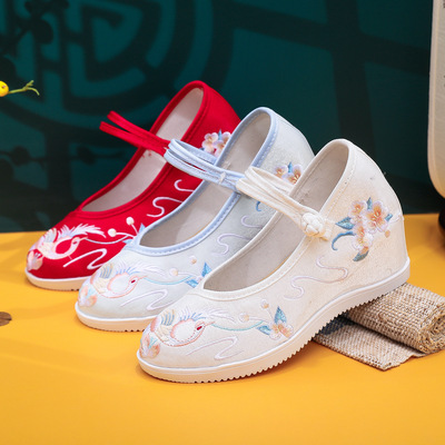 Chinese folk dress shoes Inner-increasing round toe old Beijing cloth shoes women's Hanfu high-heel platform embroidered shoes