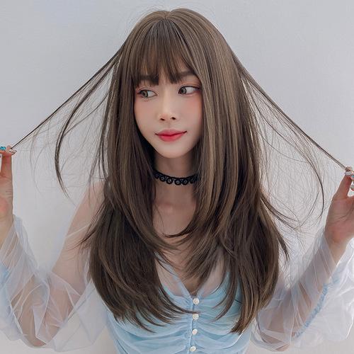 Female straight hair Wig women's long hair long straight hair inner button air bangs full head set