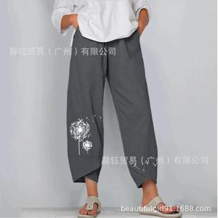 A lot of stock 2021 ladies cotton and linen loose flower printing elastic waist casual pants nine-point pants