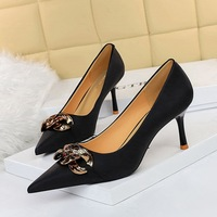 8999-9 han edition high fashion party with shallow mouth pointed metal show thin nightclub buckle sexy high-heeled shoes women's shoes