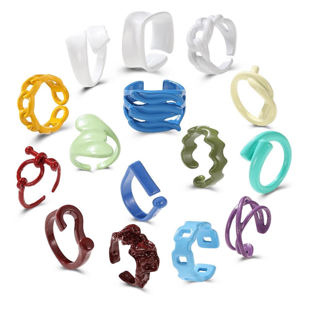 retro alloy spray color geometric ring wholesale  NHPJ361118