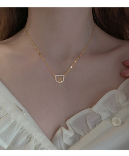 【Pauline】  S925 silver jewelry bear necklace female ins pendant simple fashion clavicle chain P2996