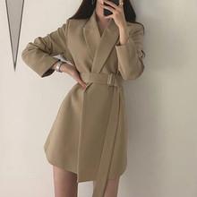 中長款修身小西裝時尚韓版2021春秋季新品女chic腰帶顯瘦外套代發