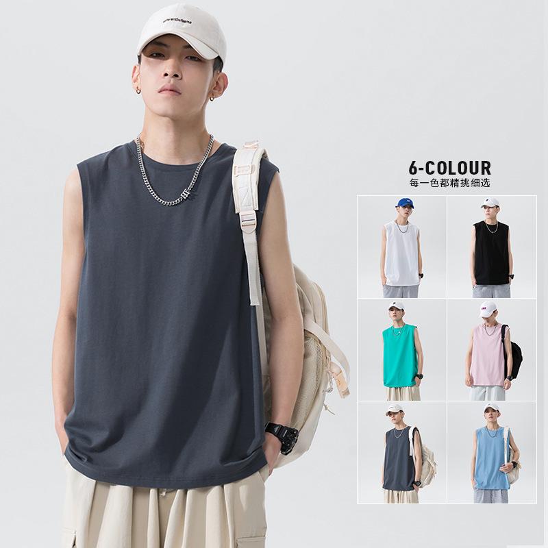 运动背心男士无袖棉T恤宽松潮流大码上衣2021夏新款坎肩篮球汗衫T