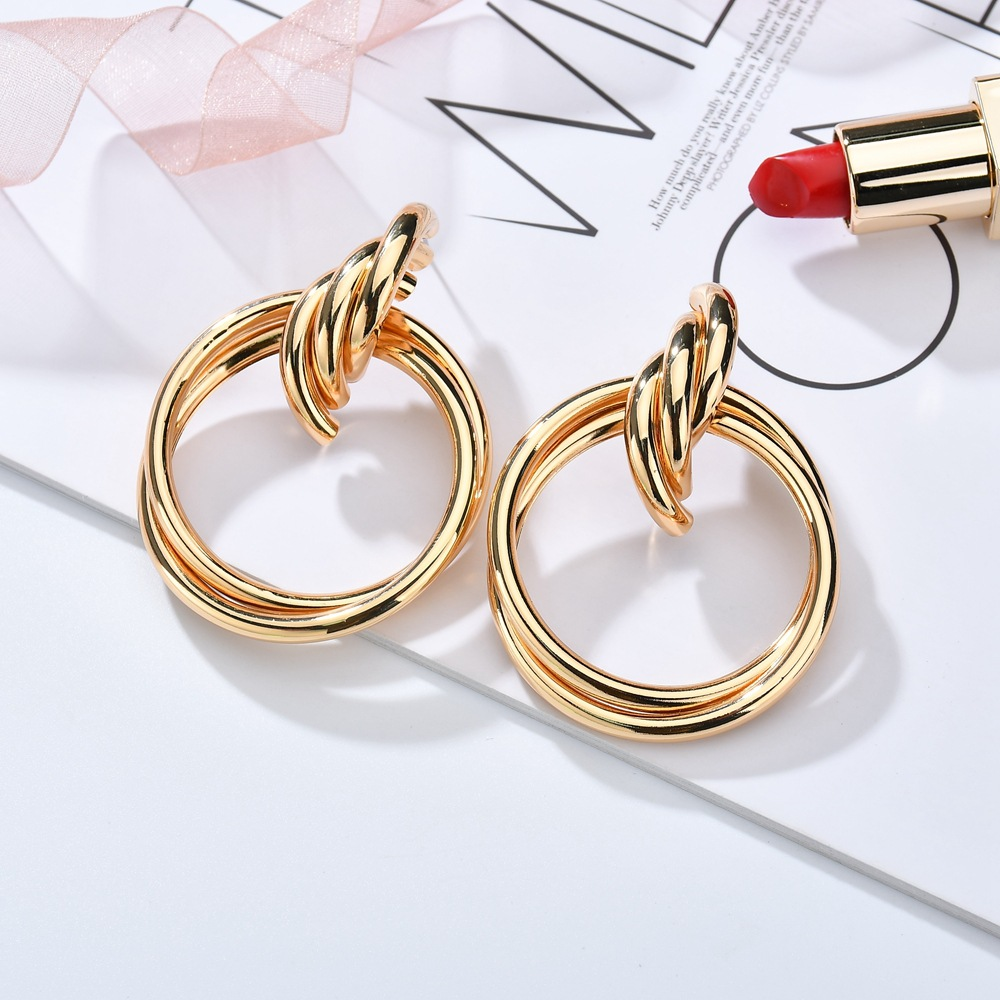 exaggerated metal knotted twist geometric round creative earrings NHBQ371254