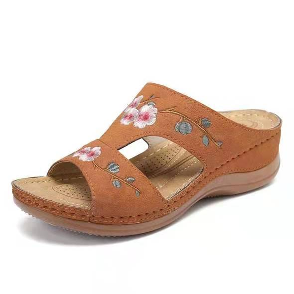 Summer Women's Shoes Hollow Flower Embroidered Sandals Wedge Heel Large Size