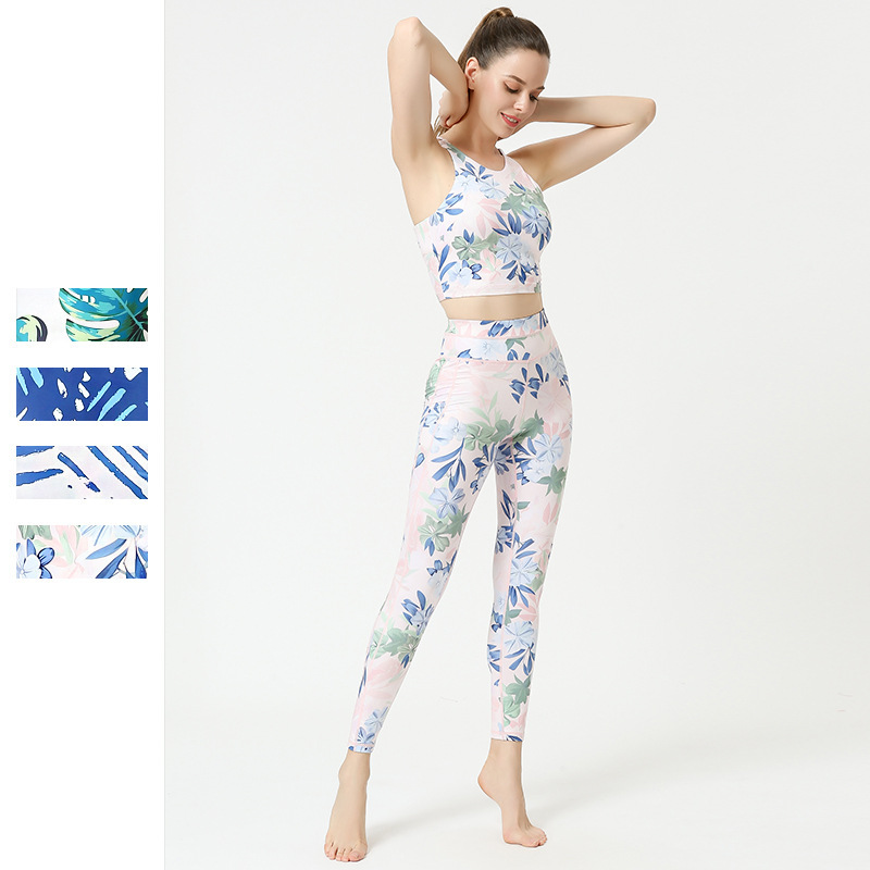 跨境新款瑜伽服女欧美速干瑜伽裤印花美背文胸运动内衣健身服套装