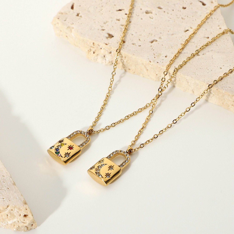 fashion stainless steel metal zircon lock pendant necklace  NHJIE369988