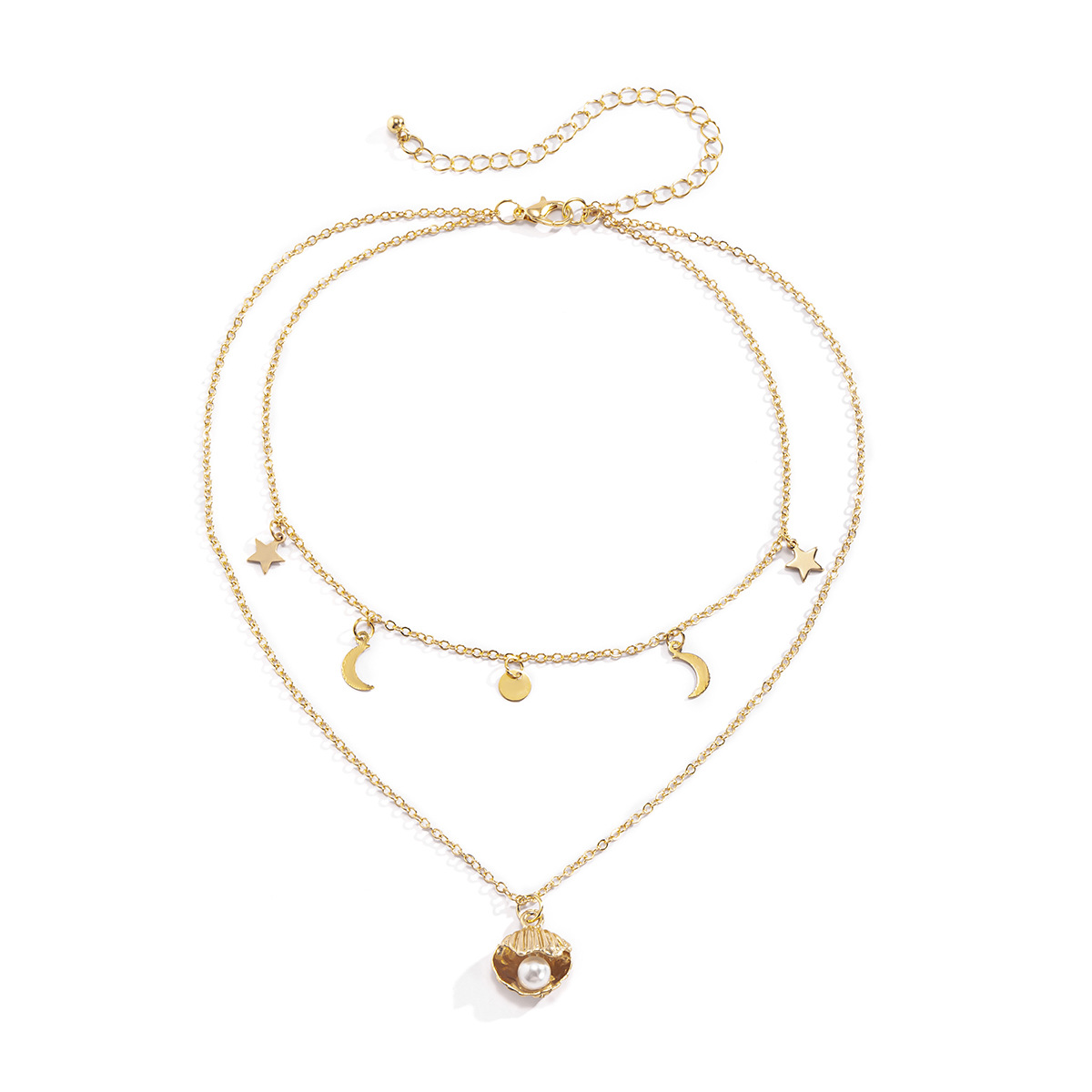 Retro double layer open shell pearl thin chain necklace wholesale NHXR338285