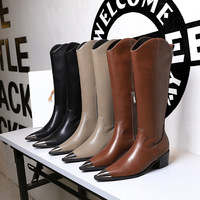 009-8 European and American wind restoring ancient ways British fashion female boots with metal point thick with high steel-toed high boots in winter
