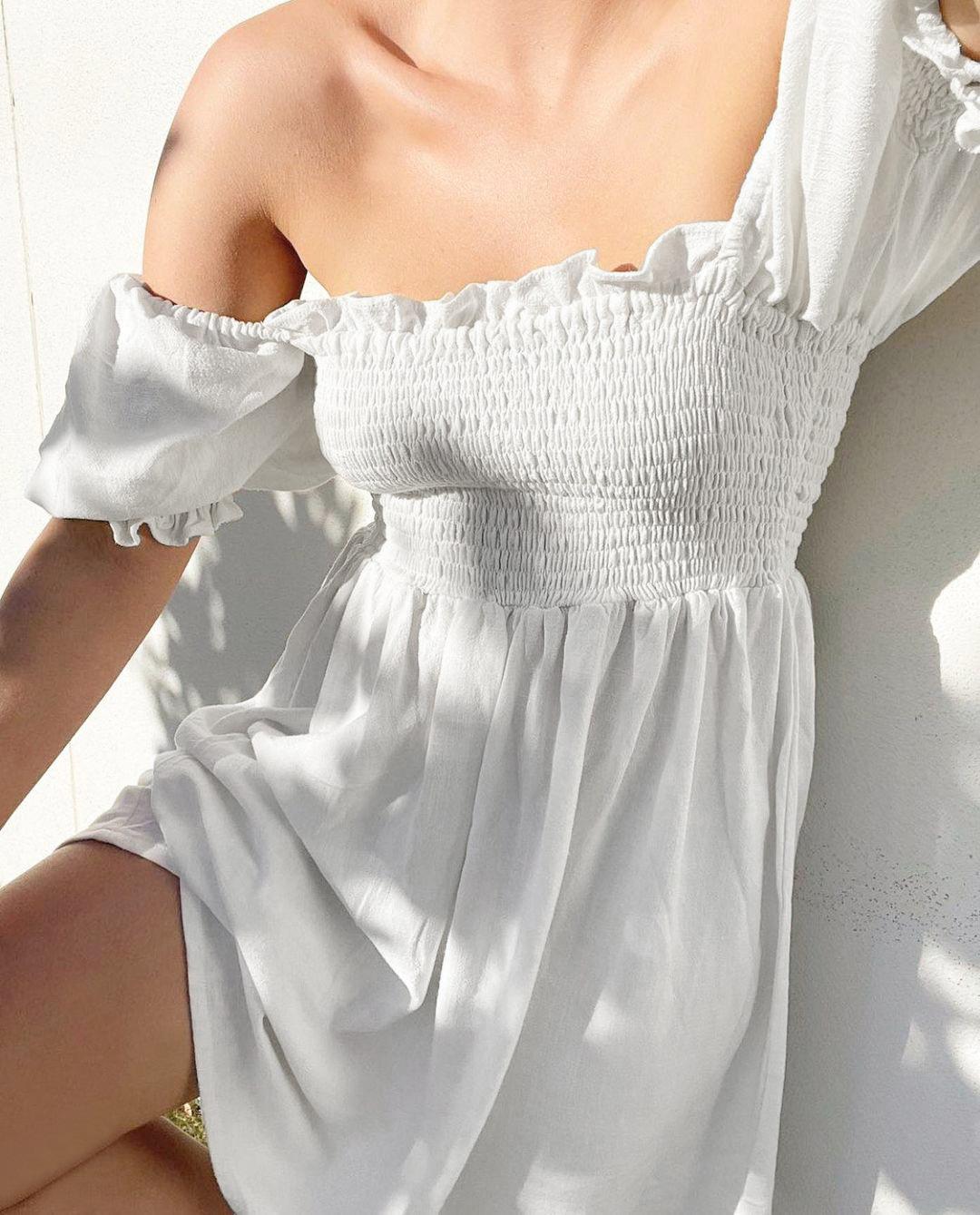 Summer square collar short skirt NSYSB47975
