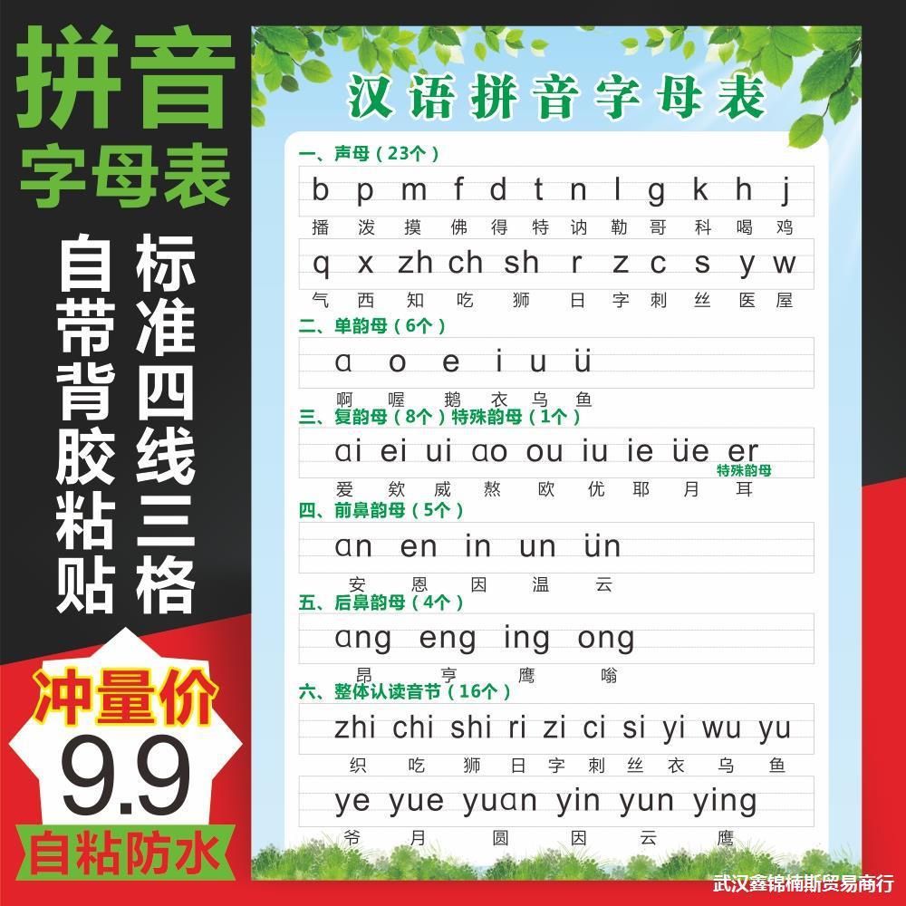 一年级小学生汉语拼音字母表墙贴 小学声母韵母整体认读音节贴画