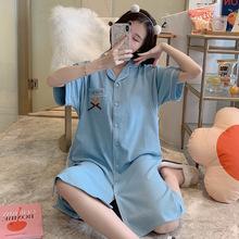 实拍月子服开衫裙短袖月子裙孕妇睡衣哺乳裙家居服产后夏套装