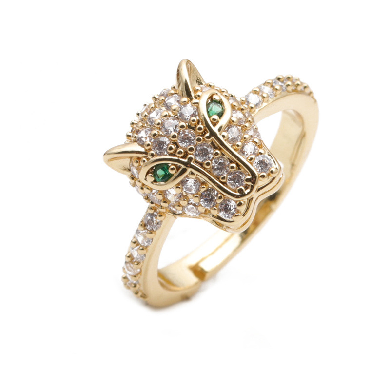 simple micro-inlaid leopard head  open ring NHYL333060