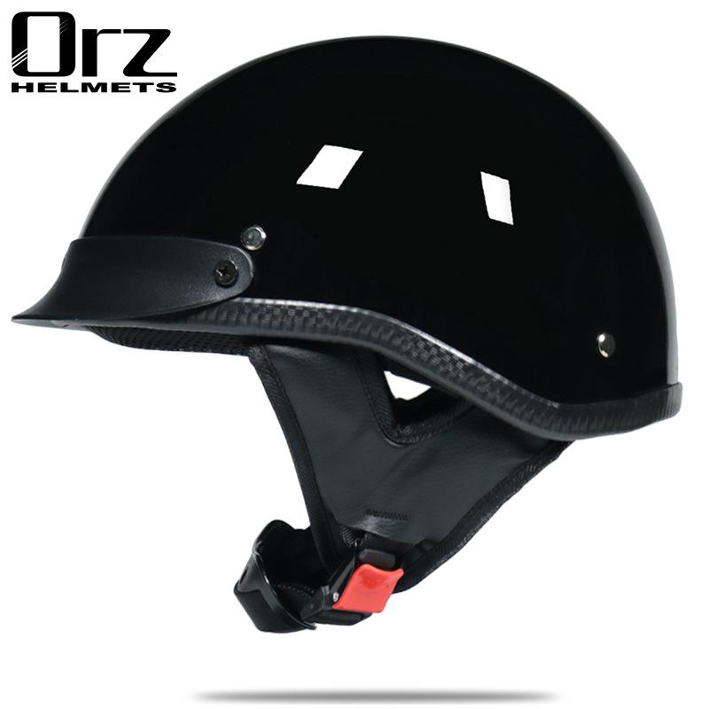 哈雷头盔夏盔男机车半盔踏板摩托车个性复古太子头盔街头时尚大码