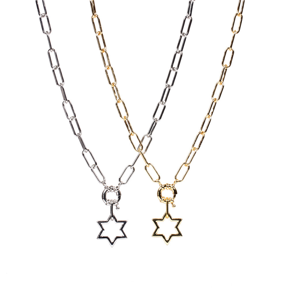 simple hollow star pendant thick chain necklace set NHPY316229