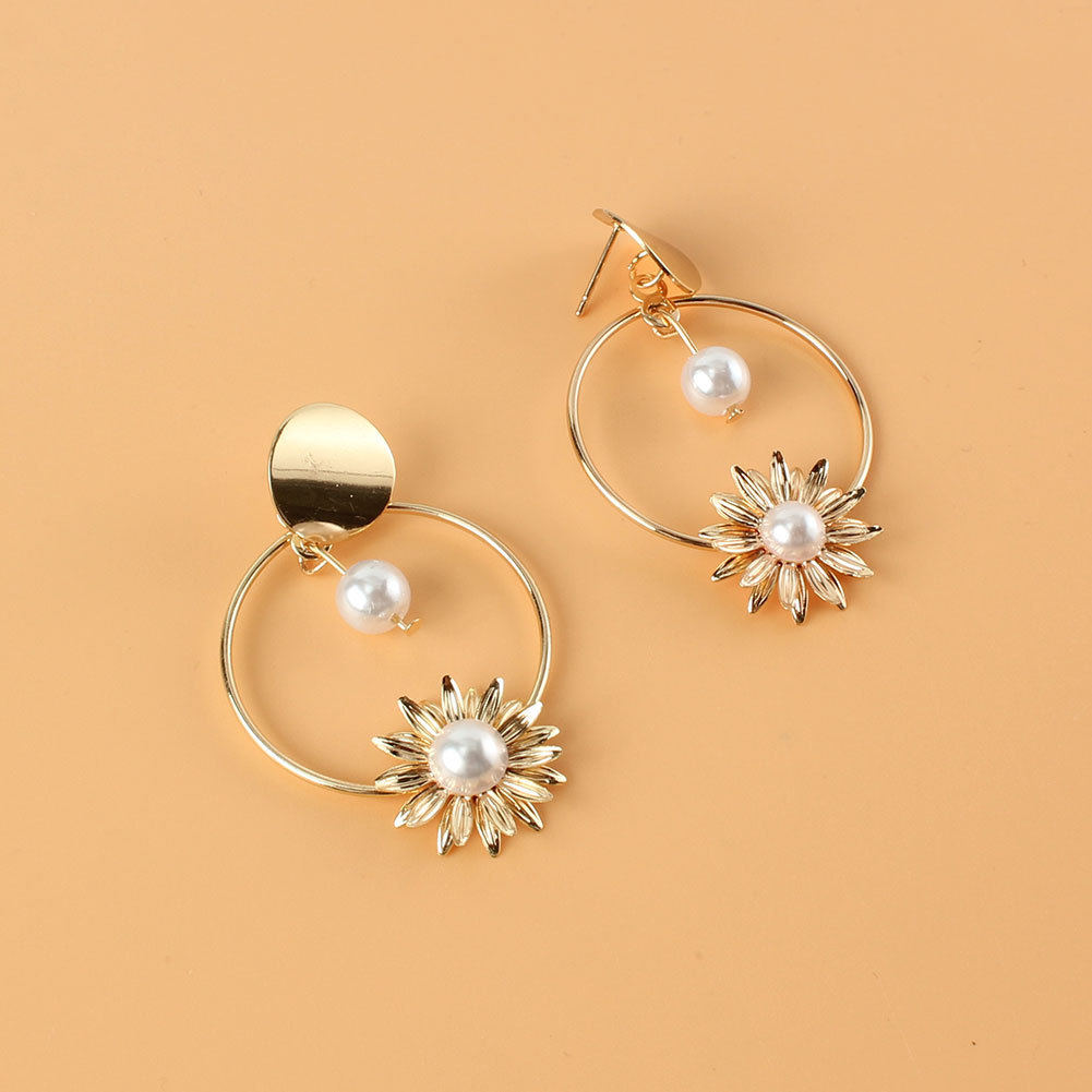 retro alloy sunflower inlaid pearl long earrings  NHCT336448