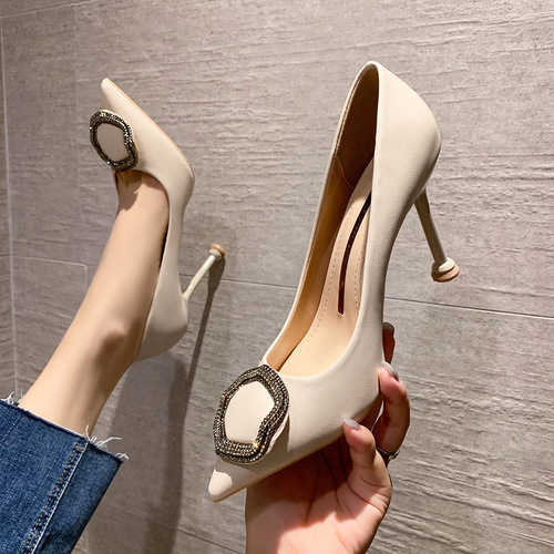 9888-29 han edition fashion pointed mouth shallow high heels and sexy web celebrity women's shoes joker diamond thin women's shoes