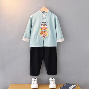 boy Tang suit cotton hemp retro  chinese Hanfu embroidered long sleeve china style Hanfu set