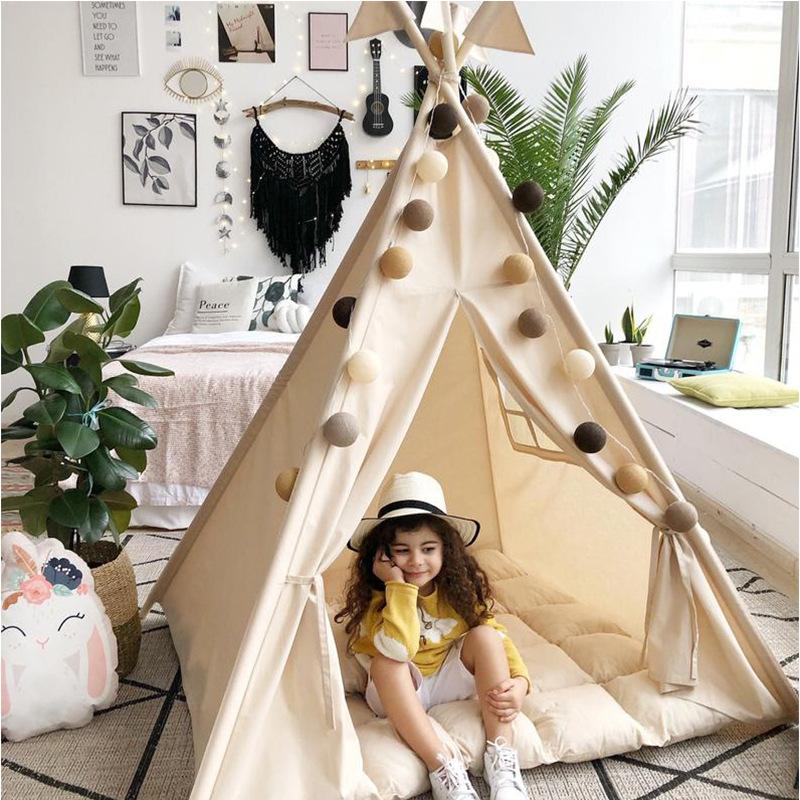 小树芽儿童帐篷印第安室内杏白色女孩公主风游戏屋宝宝玩具屋帐篷