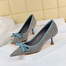 278-b17 Korean fashion wine glass heel high heel knitting shallow mouth pointed color matching bowknot versatile women's shoes single shoes