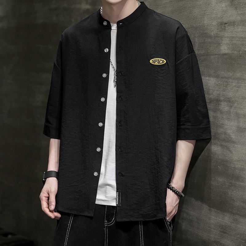 日系纯色小立领衬衫盐系韩版套头宽松夏季短袖寸衫潮男透气衬衣男