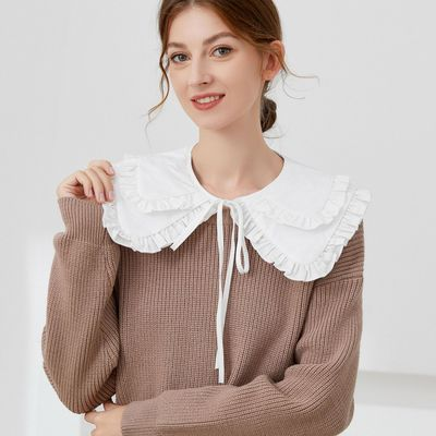 Double-layer doll collar blouse sweater decorative fake collar for women Spring Autumn Palace style shawl dickey collar with ruffles detachable collar