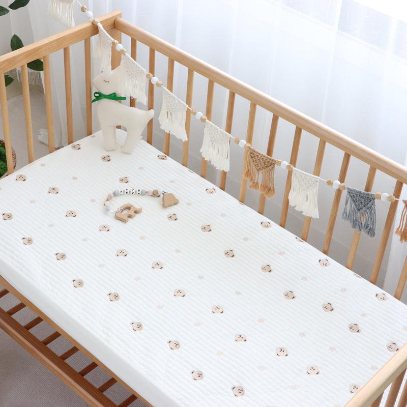 婴儿床笠儿童全棉韩式绗缝刺绣宝宝床垫松紧带床单新生儿床品套件