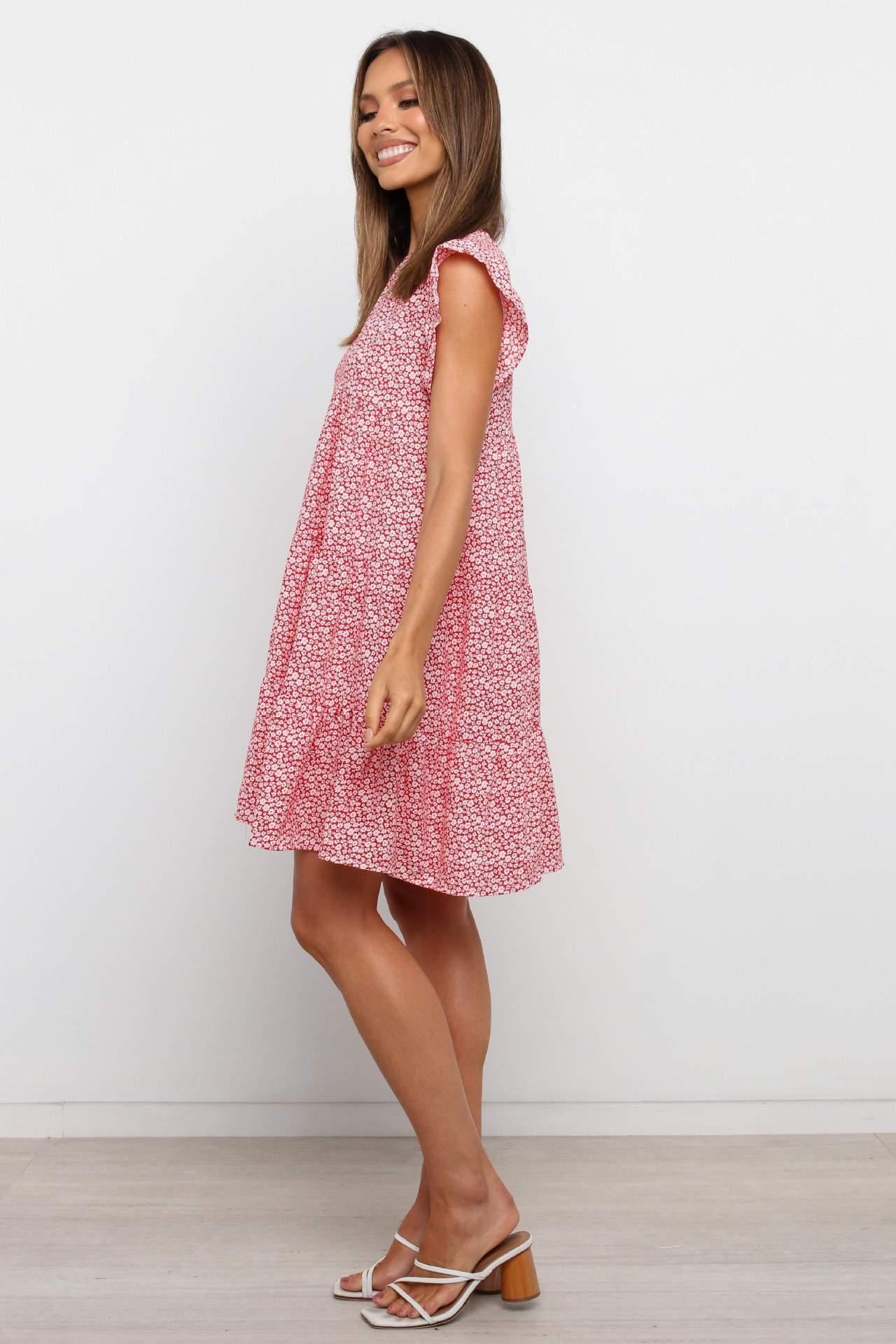 round neck flying sleeve loose printed dress NSYD48946