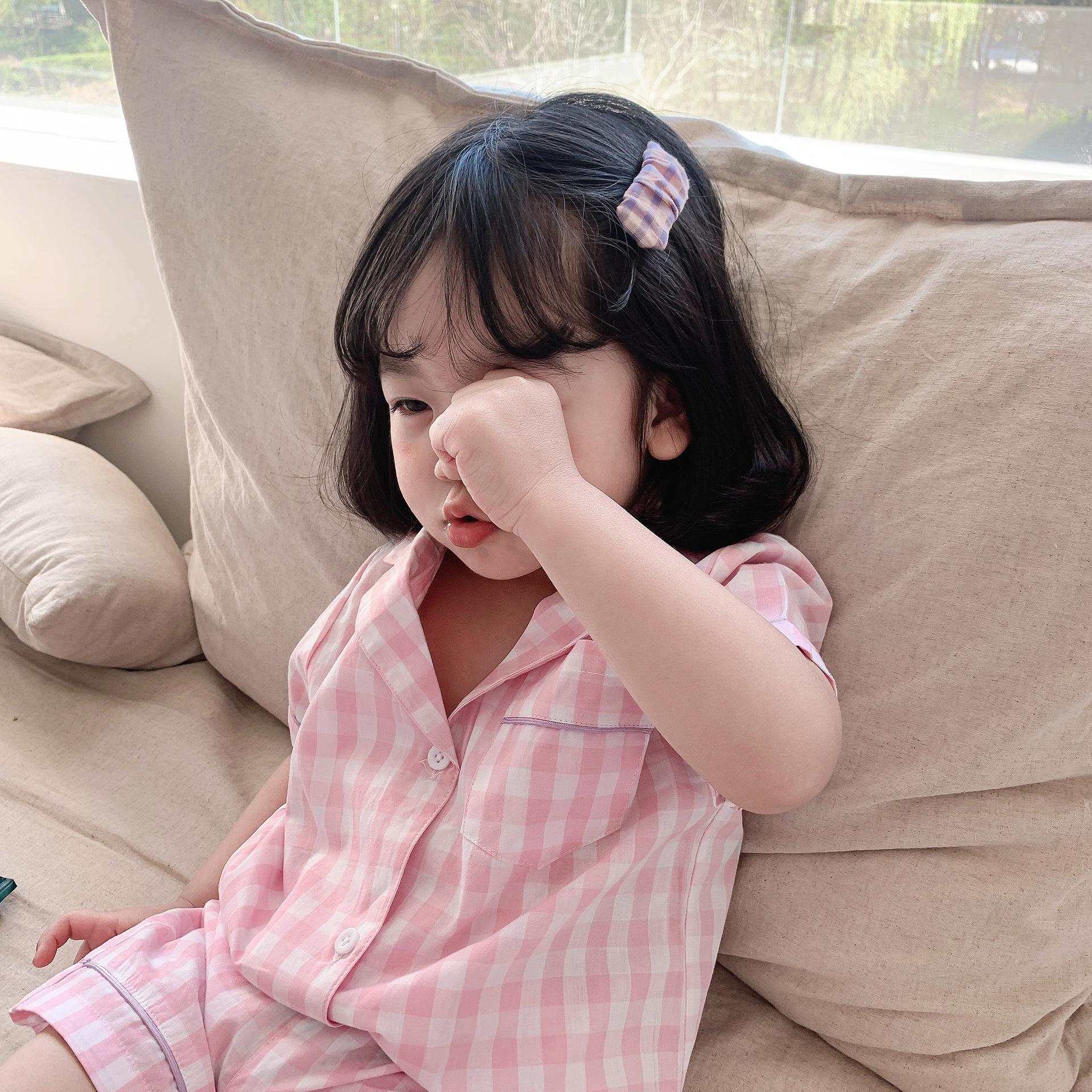 女童夏装睡衣套装洋气2021新款儿童格子休闲韩版夏装家居服套装潮